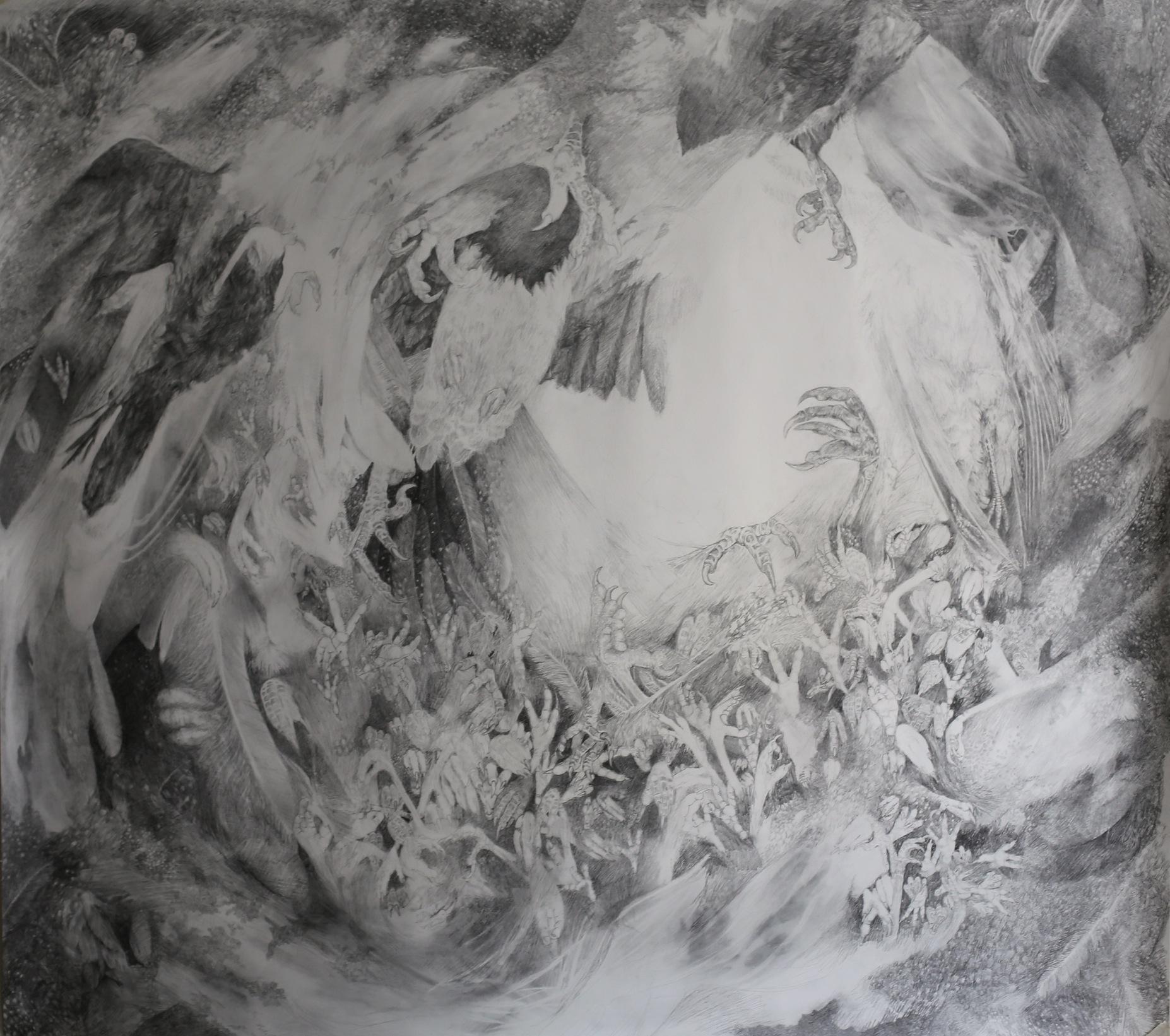 Når det mørkner, graphite on paper, 124 x 110 cm, 2013